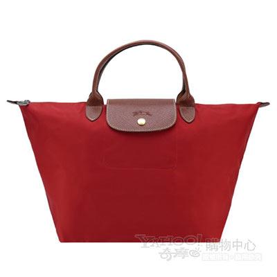 Longchamp 經典Le Pliage系列戰馬中型摺疊短把水餃包(紅)