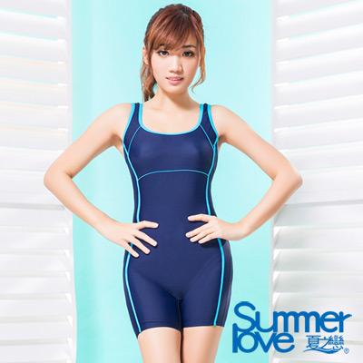 夏之戀SUMMERLOVE 比基尼泳裝 連身四角泳裝 深藍色