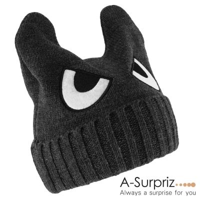 A-Surpriz-可愛眼睛反摺小惡魔針織帽-深灰