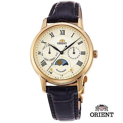 ORIENT 東方錶 SUN&MOON系列 日月相錶 皮帶款 白面-34.8mm