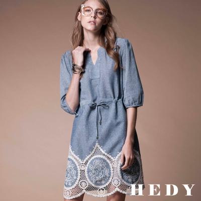 Hedy赫蒂 鏤空緹花五分袖棉麻洋裝(藍灰色)