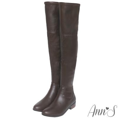 Ann'S貼腿激瘦-全素面平底羊紋彈力側拉鍊過膝長靴-咖啡
