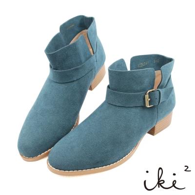 iki2 x A c chi chi 簡約真皮舒適親膚短靴-丈青