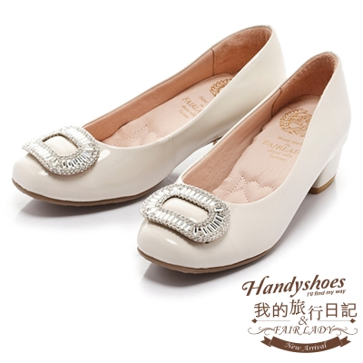 Fair Lady Cube Chic塊時尚 名媛風鑽飾扣環漆皮粗跟鞋 白