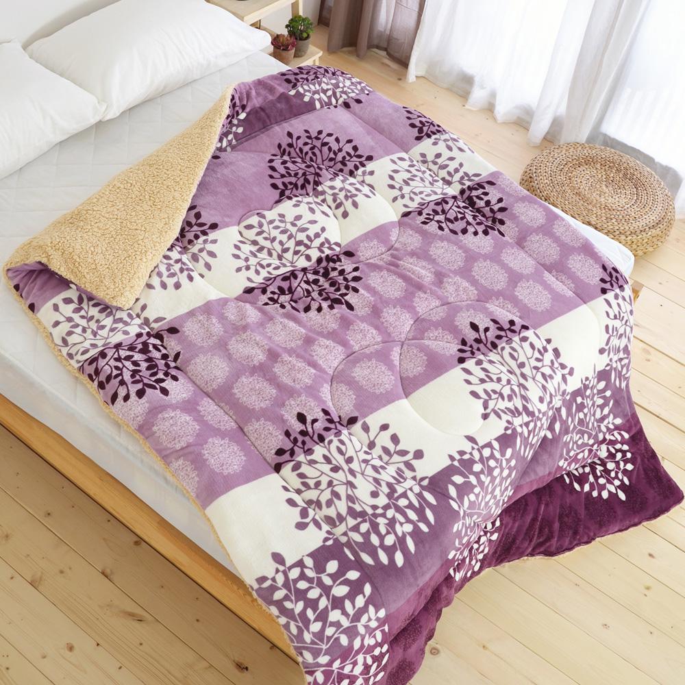 絲薇諾-台灣製蓄熱法蘭絨羊羔絨暖暖被-紫色銀花