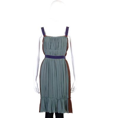 PHILOSOPHY 綠x咖啡色紗質拼接洋裝