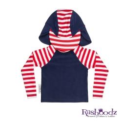 澳洲 RASHOODZ 兒童抗UV防曬半身泳衣附遮陽帽 (帆船條紋)