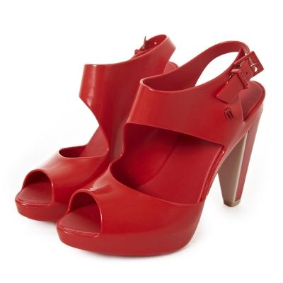 MELISSA-時尚結構高跟鞋-紅