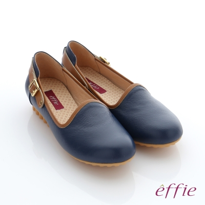 effie  彈力舒芙 真皮飾釦奈米休閒鞋 藍色