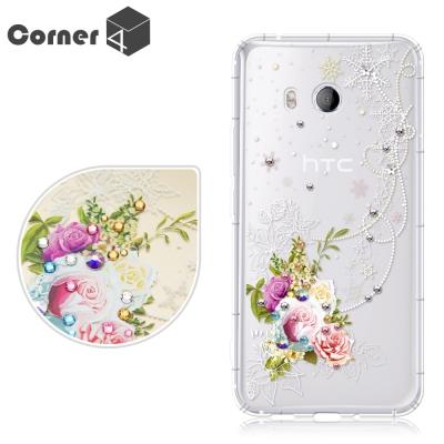 Corner4 HTC U11 奧地利彩鑽防摔手機殼-緋雪薔薇