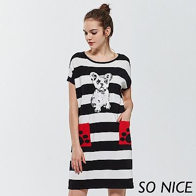 SO NICE童趣狗條紋針織洋裝