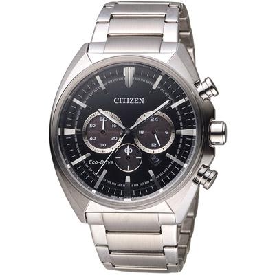 CITIZEN 星辰 光動能碼錶計時男錶(CA4280-53E)-黑/45mm