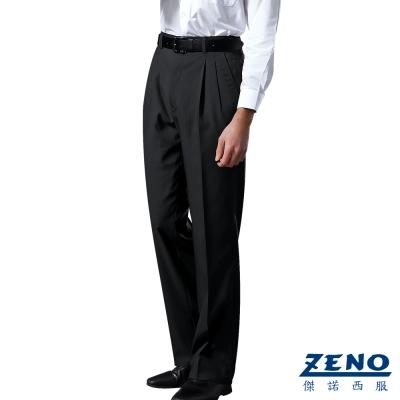 ZENO 簡約紳士精緻打摺西裝褲‧黑色32-40