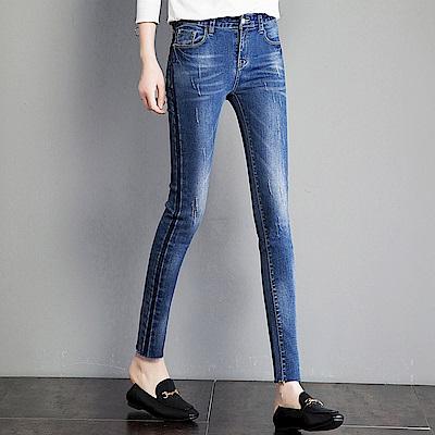 ALLK 爪痕拼接9分牛仔褲 藍色 (腰圍27-31)