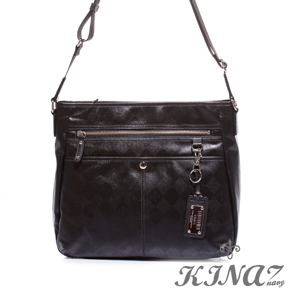 KINAZ navy 百搭實用斜背包-穩黑-菱格哲學系列-特賣品