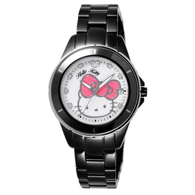 HELLO KITTY 時尚腕錶-銀框白x黑/35mm