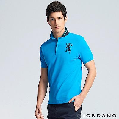 GIORDANO 男裝勝利獅王3D刺繡彈力萊卡POLO衫 -37 雪花中翡翠藍