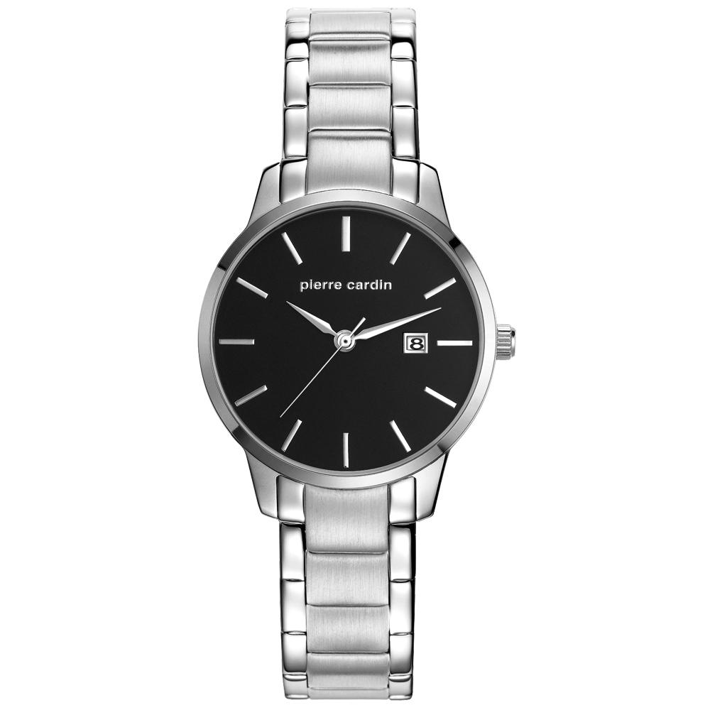 pierre cardin皮爾卡登 極度品味時尚錶-銀x黑x小/30mm