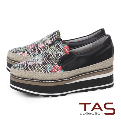 TAS 鳳梨水鑽草編厚底休閒鞋-個性黑