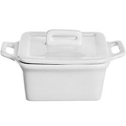 EXCELSA White附蓋瓷製方烤杯(寬9.3cm)