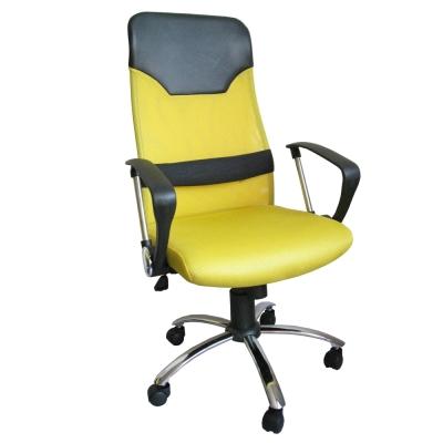 Dr.DIY 透氣網布(鋼管腳)高背主管椅/辦公椅/電腦椅(黃色)