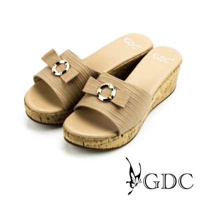 GDC-蝴蝶結裝飾波浪一字厚底拖鞋-杏色