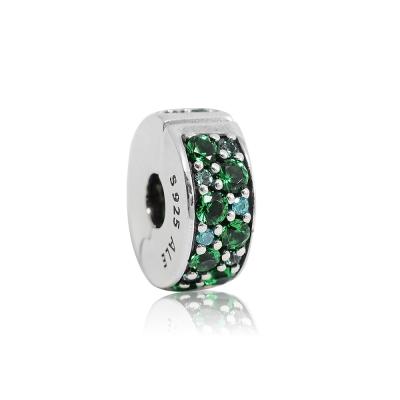 Pandora 潘朵拉 綠色鑲鋯水晶扁狀夾扣式 純銀墜飾 串珠