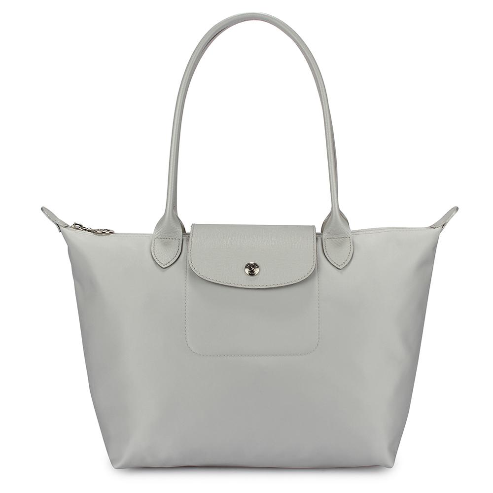 Longchamp 厚尼龍小型長柄水餃包-銀白色