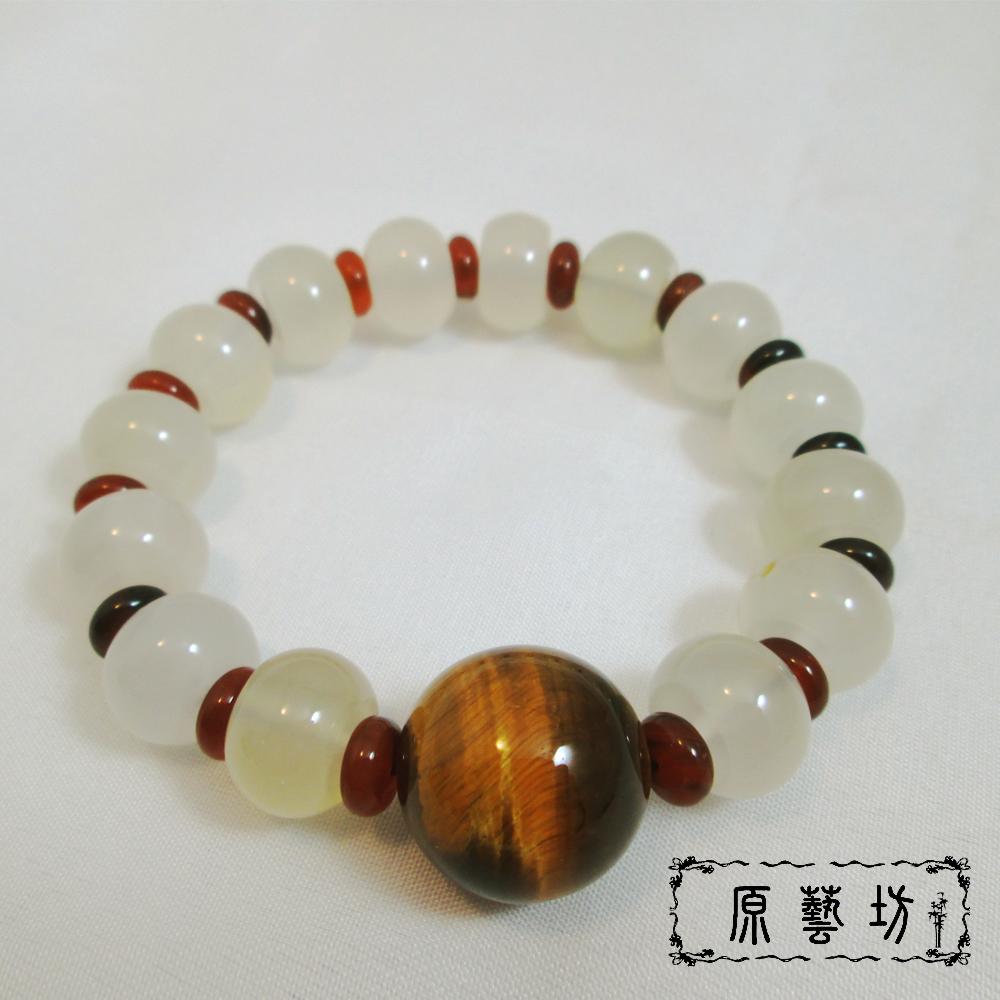 原藝坊 虎眼石白玉髓 開運圓珠手鍊(白玉髓直徑14mm)