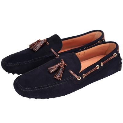 CAR SHOE 壓紋流蘇綁帶麂皮豆豆休閒鞋(深藍色)