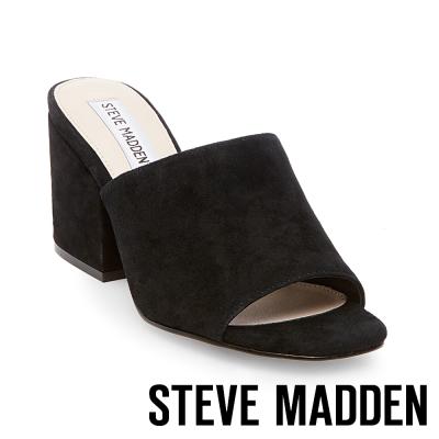 STEVE MADDEN-DALIS-BLACK 麂皮粗高跟穆勒鞋-黑色