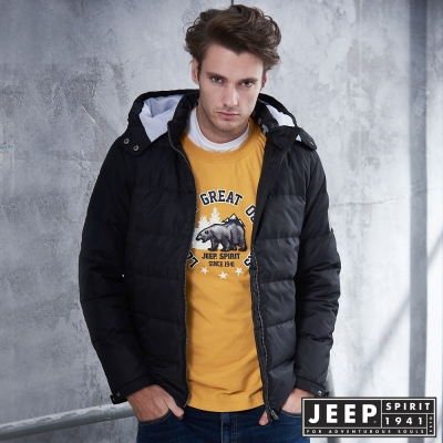 JEEP 時尚簡約造型圖騰羽絨外套 -黑色