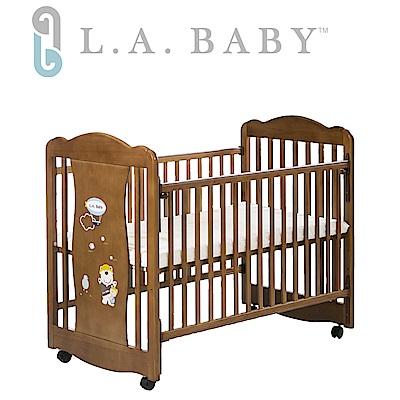 美國 L.A. Baby  奧蘭多嬰兒搖擺大床/原木床/童床(淺咖啡色)