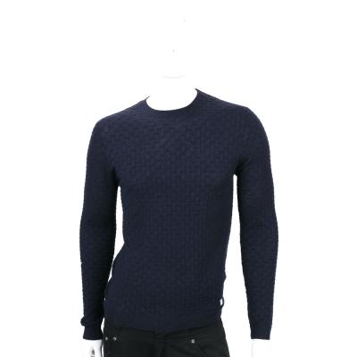 VERSACE 深藍色編織紋羊毛長袖上衣 100%LANA