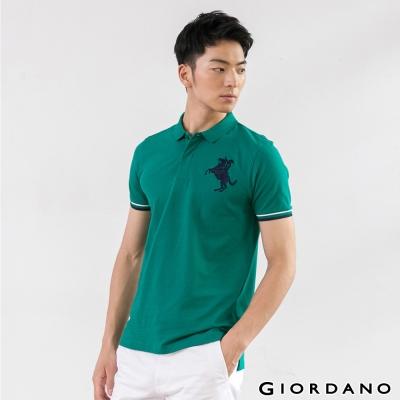 GIORDANO-男裝拿破崙刺繡彈性POLO衫-39-樹林綠