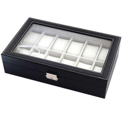 PARNIS BOX 皮革12只裝收藏盒 米色內裡 附鑰匙 皮革02
