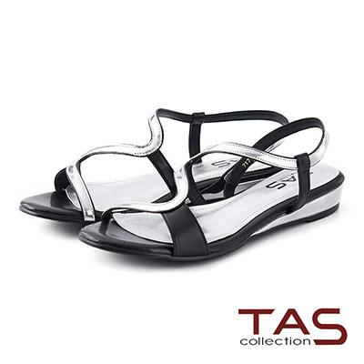 TAS 金屬感曲線繫帶小坡跟涼鞋-時尚黑