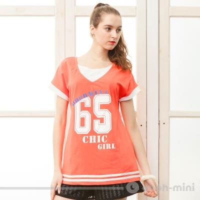 【ohoh-mini 孕婦裝】運動風數字印花V領上衣