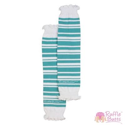 RuffleButts 小女童藍綠條紋襪套