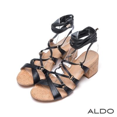 ALDO-真皮交叉金屬釦繫帶軟木塞粗跟涼鞋-尊爵黑色