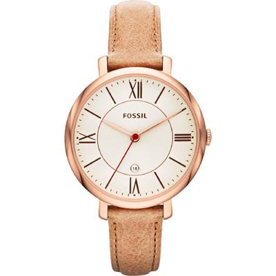 FOSSIL 羅馬風尚仕女腕錶-銀x卡其/36mm