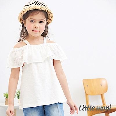 Little moni 露肩蕾絲上衣 白色
