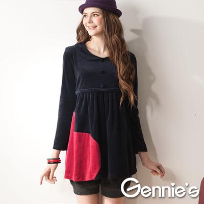 Gennie-s奇妮-大愛心棉絨秋冬長版哺乳上衣-GN071