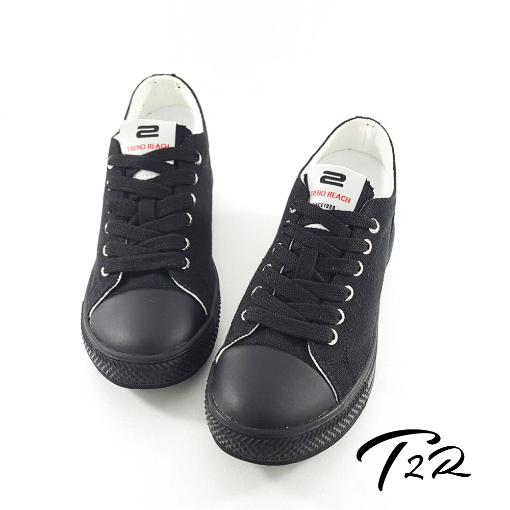T2R 韓國百搭帆布隱形氣墊增高鞋 7CM 黑