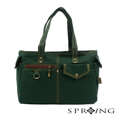 SPRING-MIT簡約風格-帆布包-肩背包-綠
