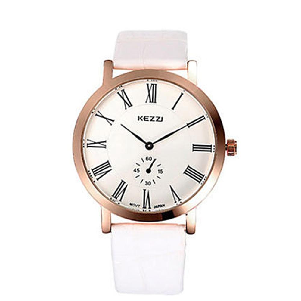KEZZI 簡約主義羅馬數字雙眼指針男錶-白 @ Y!購物