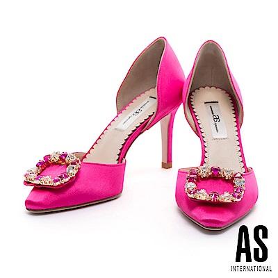 高跟鞋 AS 璀璨奢華方型鑽釦點綴緞布鏤空尖頭高跟鞋-桃紅