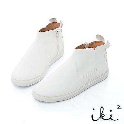iki2 咕妮兔 內真皮親子造型百搭短靴-白