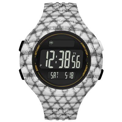 adidas 勁戰狙擊大面板電子腕錶-白黑網格-大/53mm
