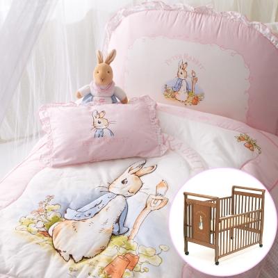 奇哥-比得兔大床-粉彩比得兔6件床組-粉紅